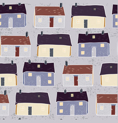 houses village xmas pattern repeat grey brown vector image