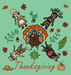 In the style 2 of childrens drawing thanksgiving vector
