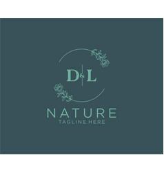 Initial dl letters botanical feminine logo vector