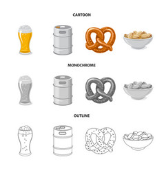 isolated object of pub and bar sign set of pub vector image