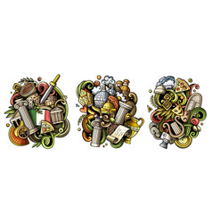 Italy cartoon doodle designs set vector