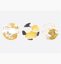 japanese background with gold foil peony floral vector image