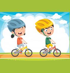 kids cycling vector image