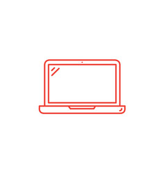laptop line red icon on white background red flat vector image
