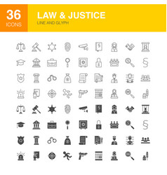 Law justice line web glyph icons vector