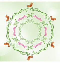 light green background with floral ornaments vector image