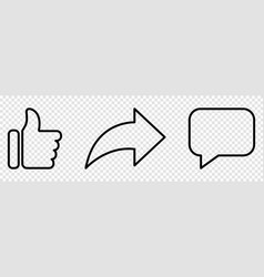 Like share and comment outline icons vector