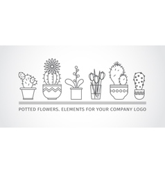 linear design potted flowers elements of a vector image