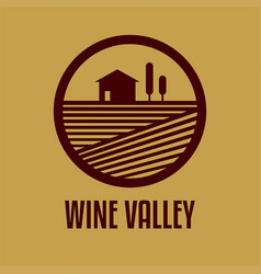 logo with a wine valley vector image