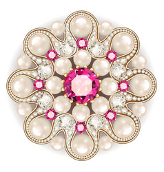 Mandala brooch jewelry design element pearl vector