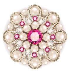 Mandala brooch jewelry design element pearl vector
