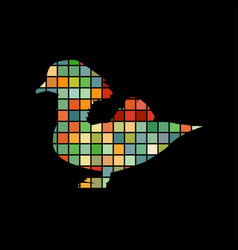Mandarin bird mosaic color silhouette animal vector