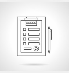 medical clipboard flat line icon vector image