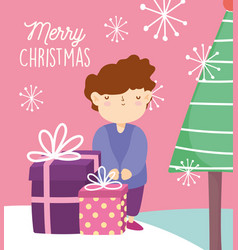merry christmas cute boy with gifts and tree vector image