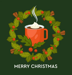 merry christmas hot drink with cinnamon in mug vector image