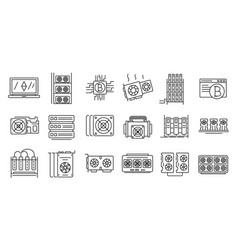 Mining farm icons set outline style vector