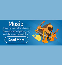 Music concept banner isometric style vector