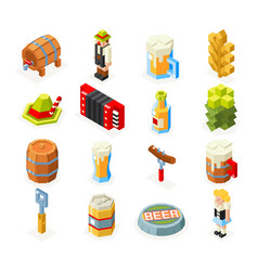Oktoberfest isometric 3d polygon lowpoly icons set vector