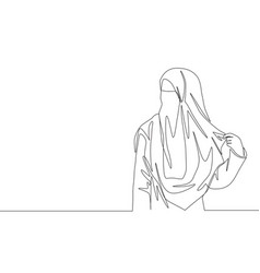 One single line drawing young attractive asian vector