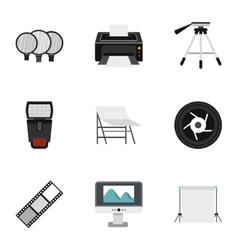 Photographing icons set flat style vector