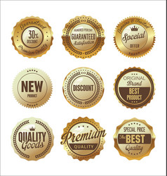Quality golden retro badges collection 05 vector