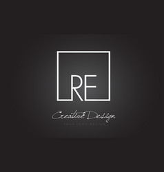 Re square frame letter logo design with black and vector
