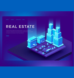 Real estate web site design with 3d isometric vector