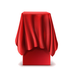 Realistic stand covered with red silk cloth vector