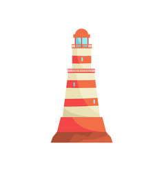 red and white striped lighthouse searchlight vector image