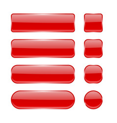 red glass buttons collection of menu interface 3d vector image
