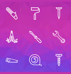 repair icons line style set with wrench bolt saw vector image