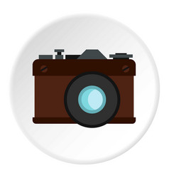 retro photo camera icon circle vector image