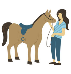 Riding hobrider girl horse with saddle vector