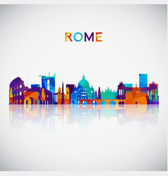 Rome skyline silhouette in colorful geometric vector