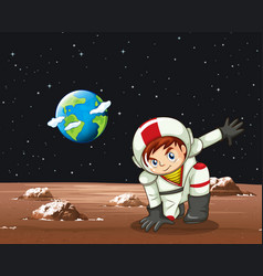 scene with astronaut in space vector image