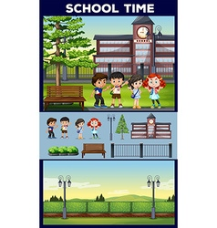 School theme with students and campus vector