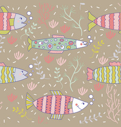 seamless pattern fish swimming underwater doodle vector image