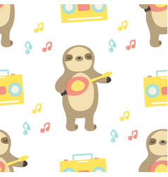 seamless pattern with cute sloth playing ukulele vector image