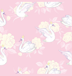 seamless pattern with white swans white swans on vector image