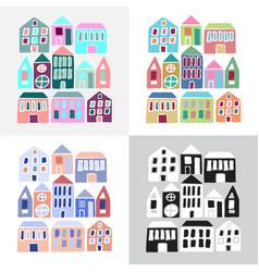 Set cartoon colorful houses vector
