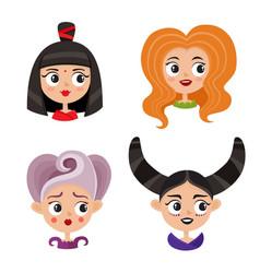 set of cool female avatars portrait of glamorous vector image