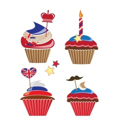 Set of cupcakes for United Kingdom party vector