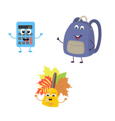 set of funny characters from calculator school vector image