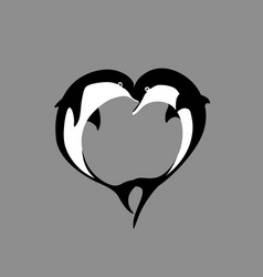 Silhouette of two dolphin couple in shape heart vector
