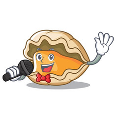 singing oyster mascot cartoon style vector image