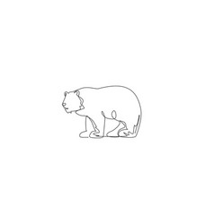 Single continuous line drawing giant grizzly vector