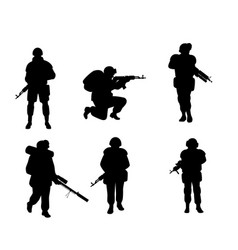 Six silhouettes of soldiers vector