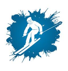 Skier action ski graphic vector