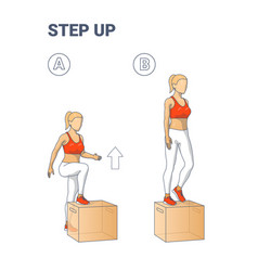 Step up exercise for female home workout colorful vector