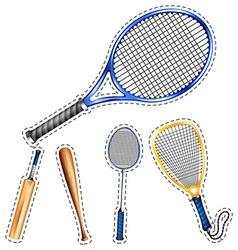 Sticker set of sport equipments vector image